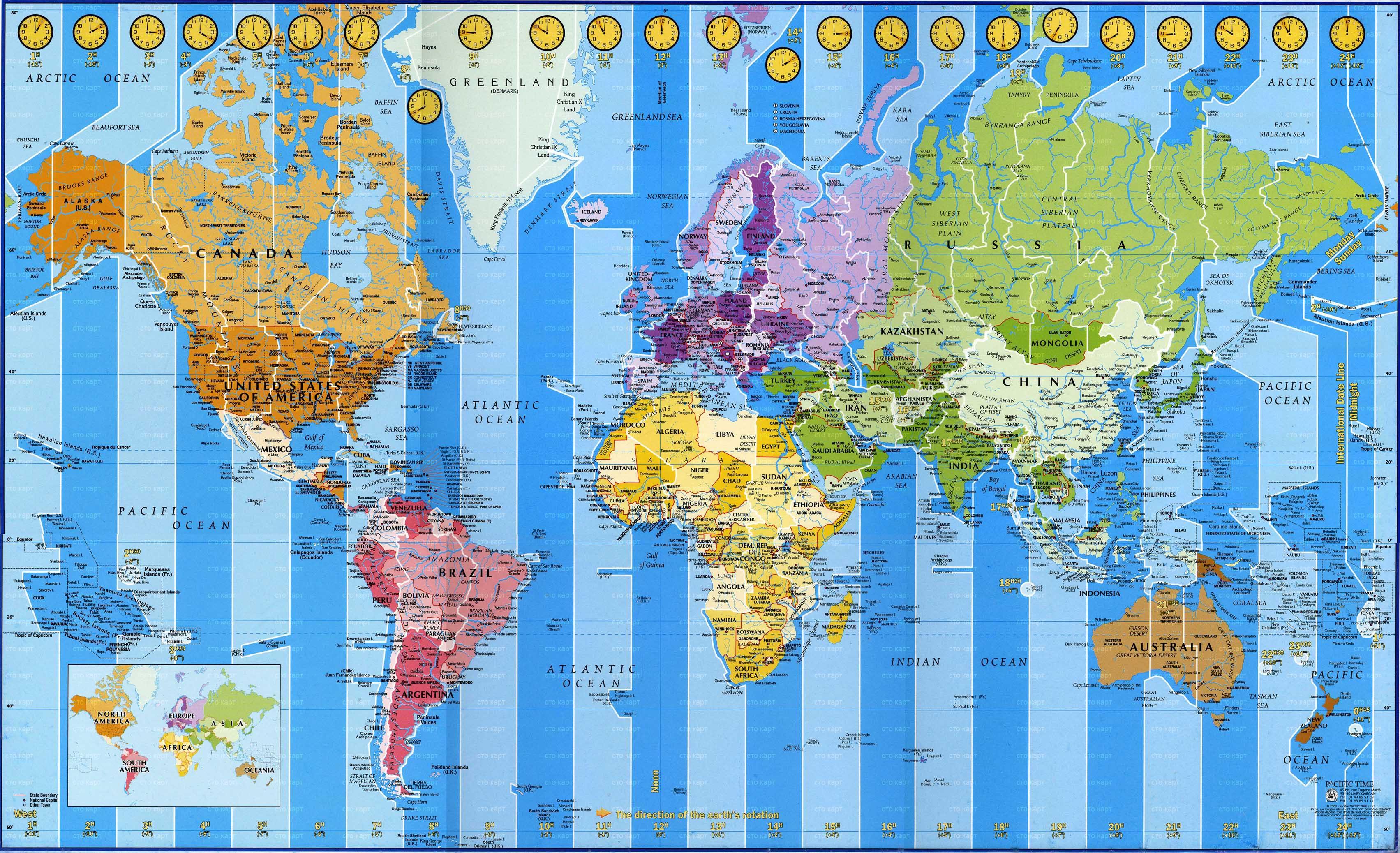 Карта мира с часовыми поясами на английском языке