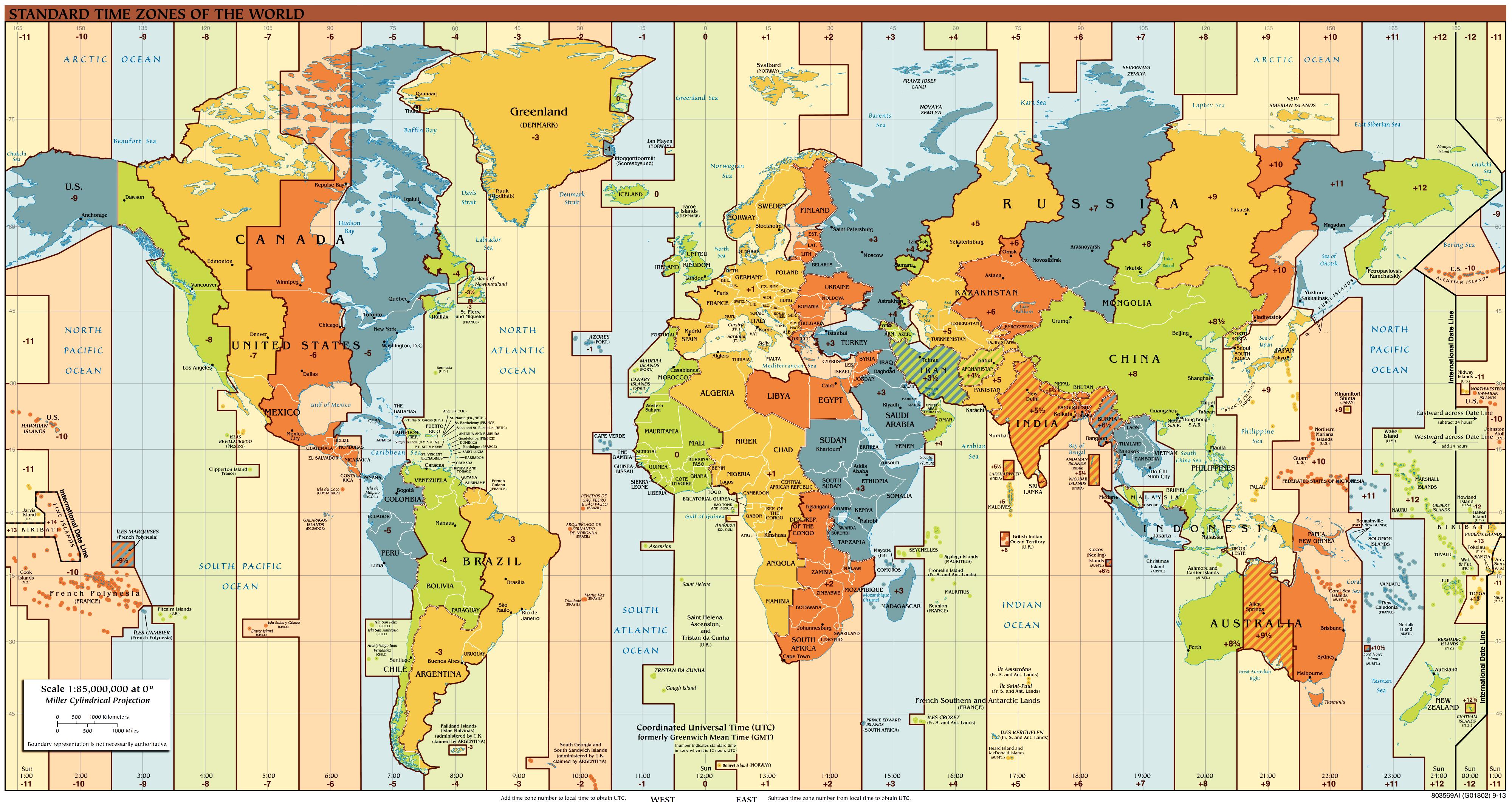 Карта мира с часовыми поясами в другом издании на английском языке