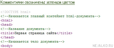 Пример комментариев в коде HTML