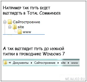 Путь до папки www
