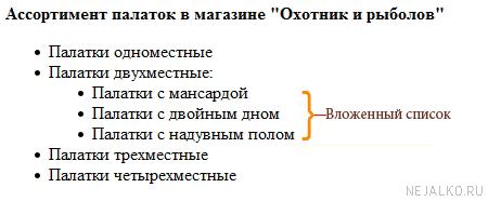 Пример вложенного списка